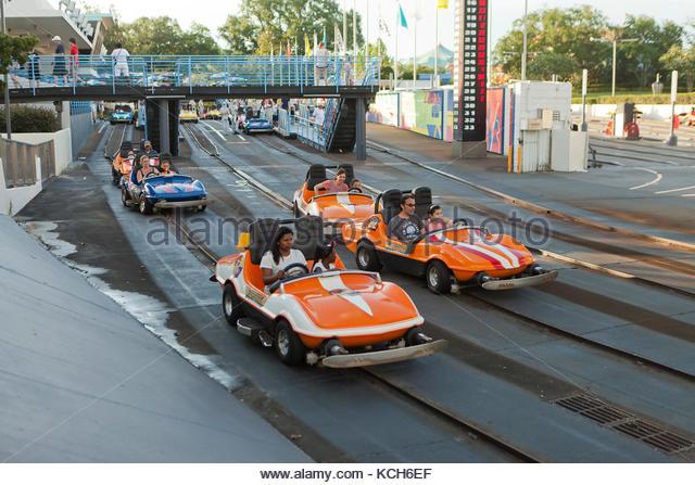 Speedway attraction at Magic Kingdom, Walt Disney World - Orlando, Florida USA - Stock Image