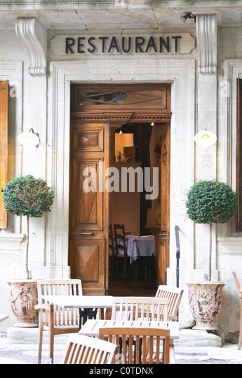 restaurant l'oustalet gigondas rhone france - Stock Image
