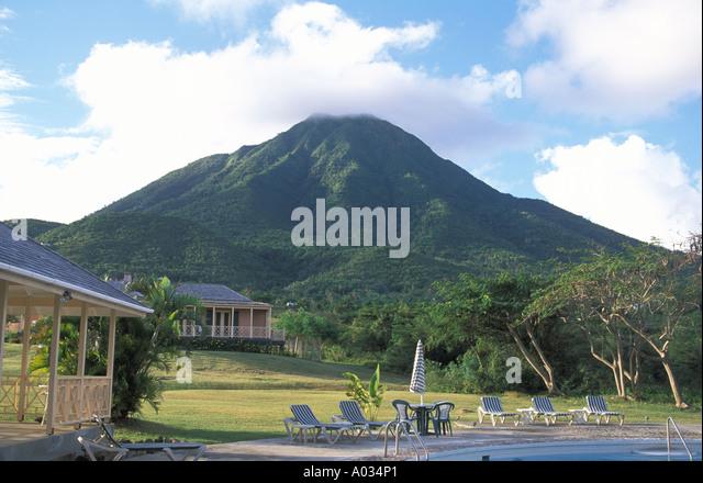 Nevis swimming pool mount nevis peak - Stock Image