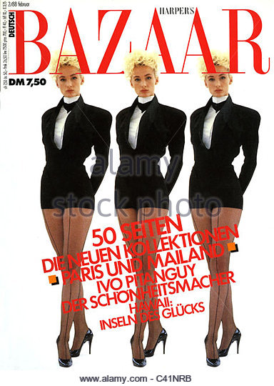 magazine, newspaper, 'Harper's Bazaar', title: 3 Models, edition, February, Munich, 1988, glossy, mag, - Stock-Bilder