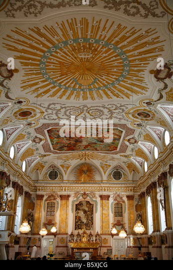 Buergersaalkirche baroque rich ornaments at the ceiling Munic Bavaria Germany - Stock-Bilder