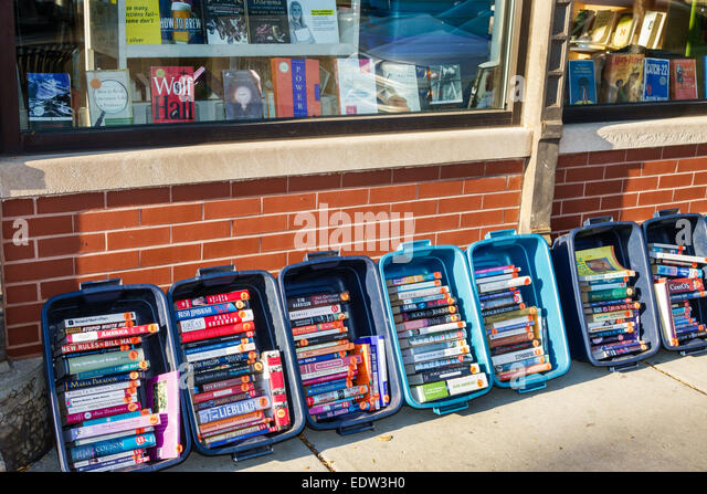 Illinois Chicago Little Italy West Taylor Street bookstore books sale display bins - Stock Image