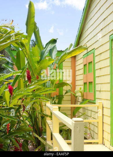 detail of garden and colorful, old wood shingled caribbean style house - Stock Image