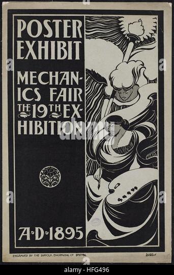 Poster exhibit, Mechanics Fair, the 19th exhibition, A.D. 1895 - Stock Image