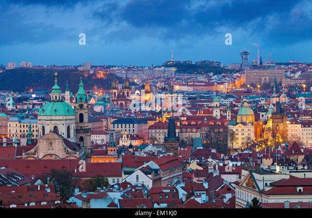 Prague. Image of Prague, capital city of Czech Republic during twilight blue hour. - Stock Image