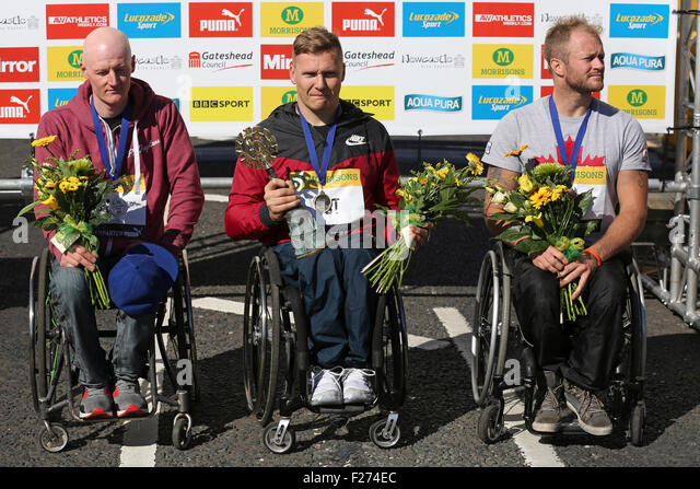 South Shields, UK. 13th Sep, 2015. Simon Lawson (GB), David Weir (GB) and Josh Cassidy (Canada) the top three athletes - Stock Image