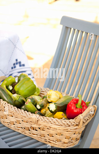 High angle view of variety of organic harvested vegetables in basket on blue patio chair - Stock Image