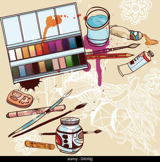 vector illustration of artistic  tools - Stock Image
