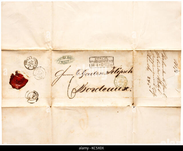 1859 folded letter sheet from Berlin (Germany) to Bordeaux, France. - Stock Image