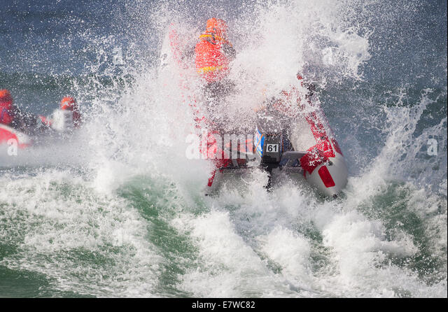 Thundercat Racing, Fistral Beach, Newquay, Cornwall UK - Stock-Bilder