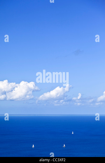 Caribbean, British Virgin Islands, Virgin Gorda, Gorda Peak National Park, view of Anegada Atoll on the Horizon - Stock-Bilder