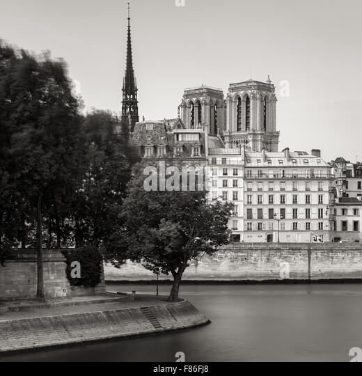 Tip of Ile Saint Louis and towers and spire of Notre Dame de Paris Cathedral (Ile de la Cite) along the bank of - Stock Image