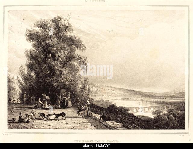 Paul Huet, French (1803-1869), Terrace of St. Cloud (Terrasse de St. Cloud), 1833, lithograph - Stock-Bilder