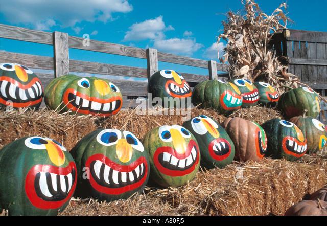 Halloween pumpkin faces fall color autumn - Stock Image