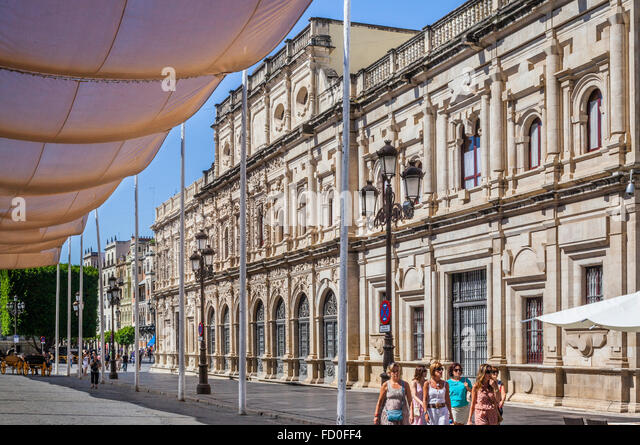 Spain, Andalusia, Province of Seville, Seville Town Hall at Plaza de San Francisco - Stock Image