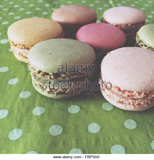 Multi Colored Macaroons - Stock Image