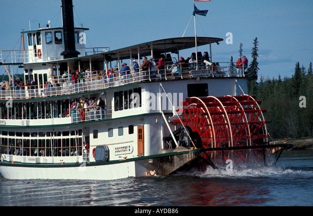 Alaska Fairbanks paddlewheel tour boat - Stock Image