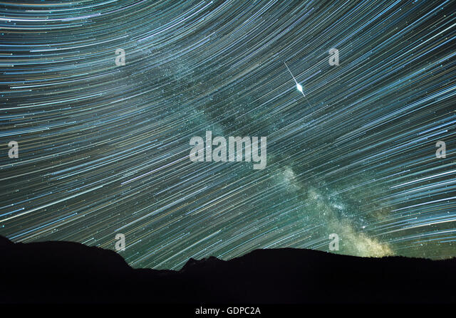 Double exposure image of stars and milky way, Stagleap Provincial Park, Creston, British Columbia, Canada - Stock Image