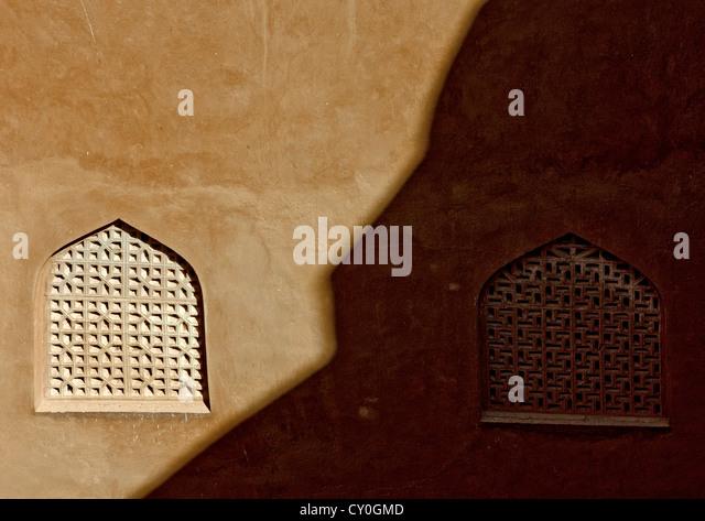 Wooden Carved Windows Of Jabrin Fort, Oman - Stock Image