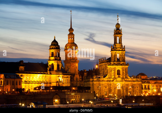 View of the Historic Centre of Dresden at night, Saxony, Germany, Europe - Stock Image