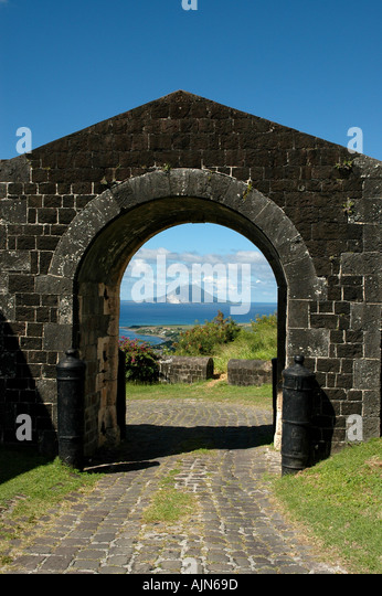 St Kitts Caribbean West Indies Brimstone Hill Fortress Entrance Saba in background - Stock Image