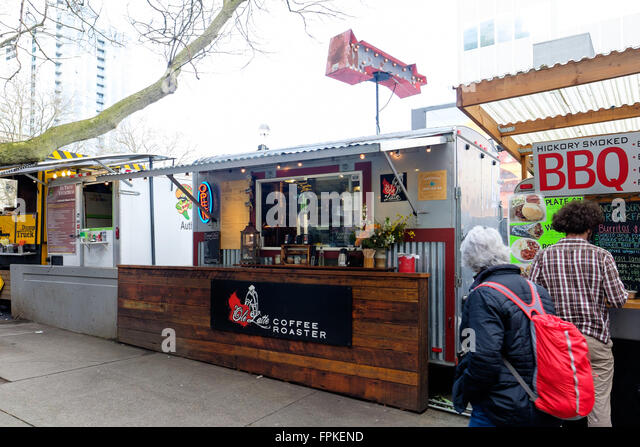 PORTLAND, OR - FEBRUARY 27, 2016: Ole Latte Coffee Roaster, a famous cafe food truck in Portland Oregon. - Stock Image