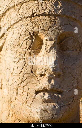 Turkey, Eastern Turkey, Adiyaman, Nemrut Dagi National Park, West Terrace, The colossal head of Anchiochus 1 - Stock Image