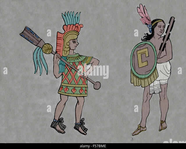 Weapons. Aztec warrior with quauhololli and Tlaxcaltec warrior with macuahuiti. Extracted from ancient Mexican painting. - Stock Image
