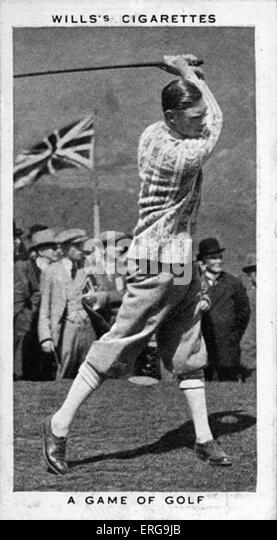 King George VI (then Duke of York) playing golf at Ton Pentre, Rhondda Valley, in May 1924. From commemorative coronation - Stock Image