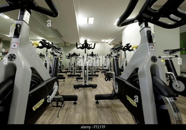 Cycling class indoors stock photos