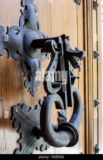 Spain Europe Spanish Hispanic Toledo door knocker humor humorous - Stock Image
