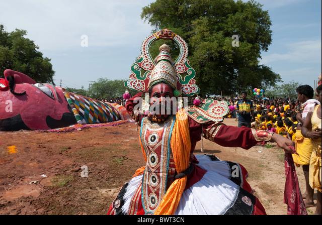 Duryodhana - Patukalam festival at Sevelimedu in Kanchipuram, Tamil Nadu, South India, India. - Stock Image