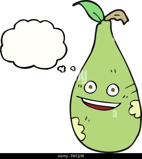 freehand drawn thought bubble cartoon pear - Stock Image