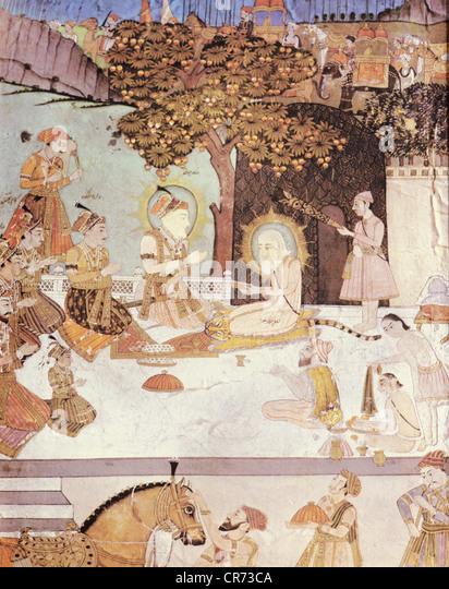 Shah Jahan, 5.1.1592 - 22.1.1666, Mughal Emperor of India 1627 - 1658, scene, Shah Jahan and his 5 sons visiting - Stock Image