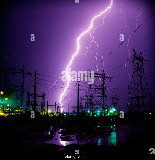 A huge bolt of lightning striking an electrical substation near Red Rock, Arizona, USA. - Stock Image