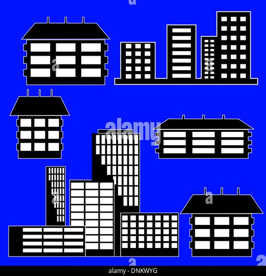 different kind of houses and buildings - Vector Illustration - Stock Image