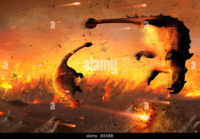 Artwork showing dinosaurs caught in the aftermath of an asteroid impact. The dinosaurs were wiped out 65 million - Stock-Bilder