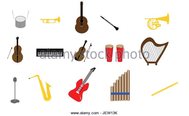 Collection of musical instruments stock photos for The craft of musical composition