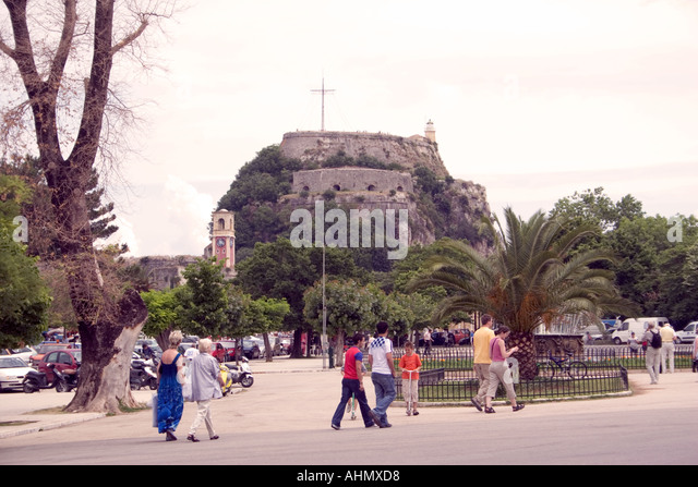 Spianada and Old Fortres, Kerkyra, Corfu, Greece, Europe, - Stock Image