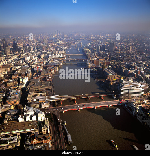 Aerial image of bridges over the River Thames, looking east from Blackfriars Bridge, London, England, United Kingdom, - Stock Image