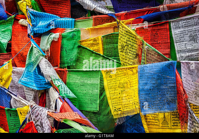 Buddhist prayer flags lungta with prayers, Ladakh - Stock Image