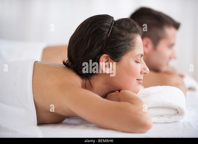 Couple at spa - Stock Image