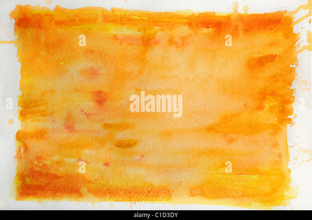 Orange watercolor background over textured paper - Stock Image