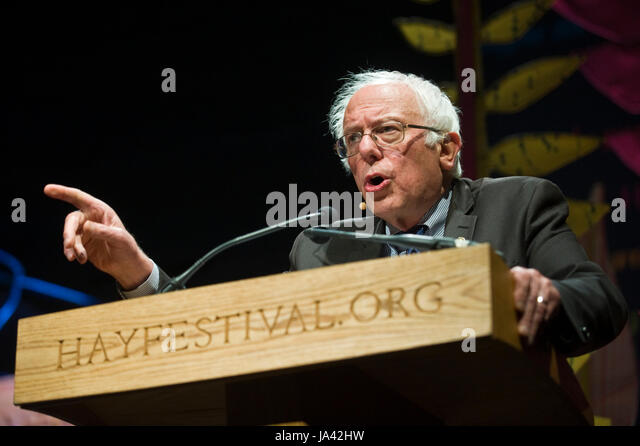 US Senator Bernie Sanders giving the 2017 Eris Hobsbawm Lecture at Hay Festival Hay-on-Wye Powys Wales UK - Stock Image