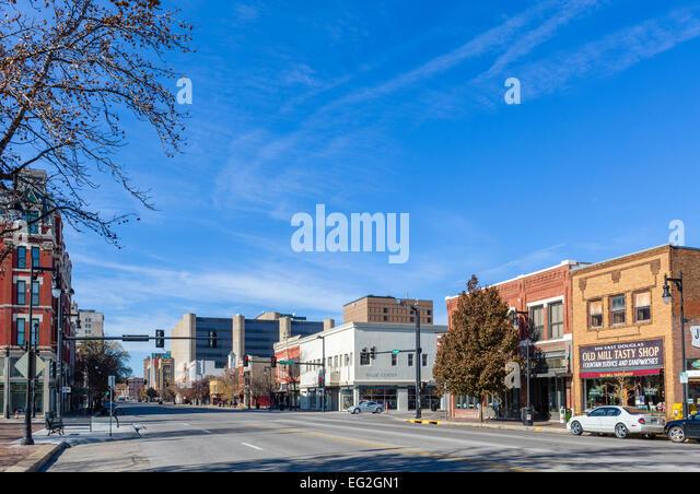 East Douglas Avenue in historic downtown Wichita, Kansas, USA - Stock Image