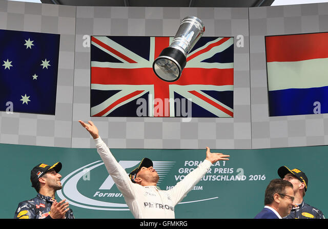 Hockenheim, Germany. 31st July, 2016. Mercedes AMG Petronas - Lewis Hamilton takes 1st place on the podium under - Stock-Bilder