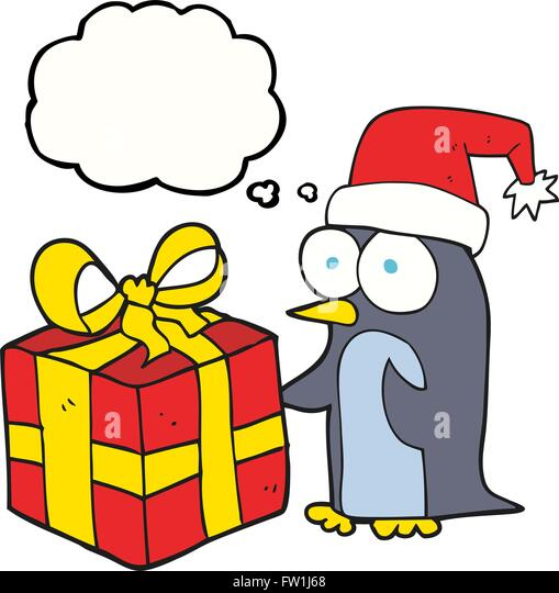 freehand drawn thought bubble cartoon christmas penguin with present - Stock Image