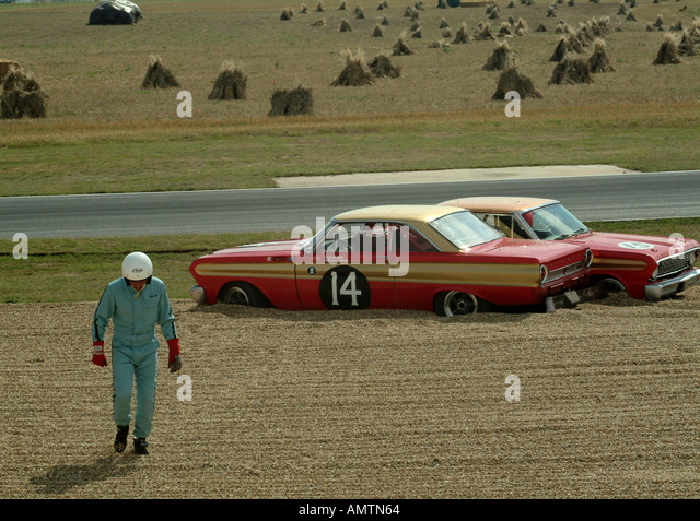 A brace of Ford Falcon Sprints stranded in the gravel at the Goodwood Revival - Stock Image