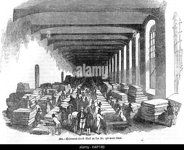 COLOURED TEXTILE SALES HALL IN LEEDS  about 1850 - Stock Image
