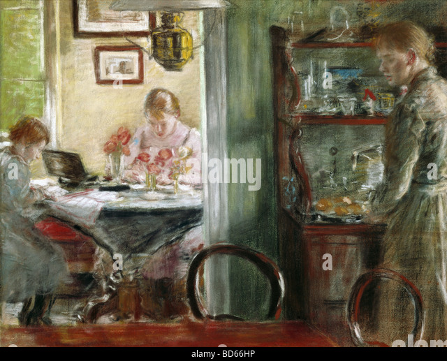 "fine arts, Uhde, Fritz von (1848 - 1911), painting, ""The Daughters (Interior)"", Museum Folkwang, Essen, - Stock Image"